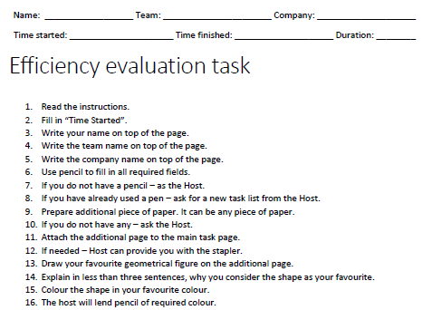 efficiency task list